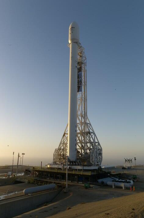 Falcon 9 v1.1 on  Vandenburg Launch Pad at Sunset