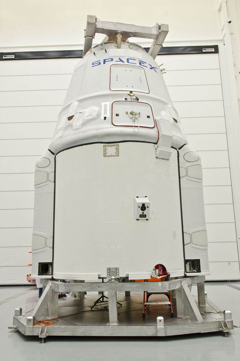 Dragon in SpaceX's hangar, prior to vehicle mate.