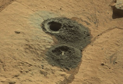 This image recorded by Curiosity's mast-mounted camera shows the drill site at Windjana.