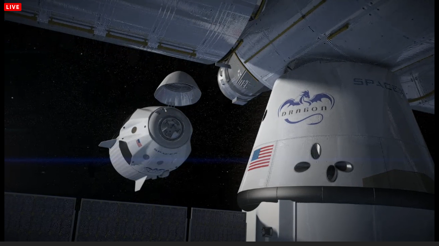 Dragon V2 arriving at station with Dragon Cargo already attached